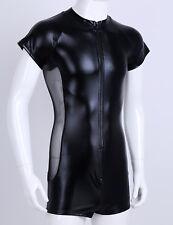 Mens Bodysuit Costume Male Boxer Short Sleeves Zipper Metallic Zentai Catsuits