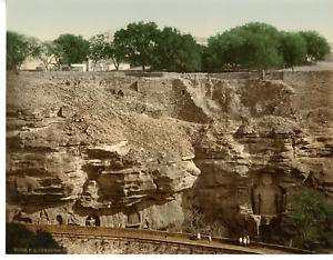 Gwalior. Urwai Rock Sculptures. PZ vintage photochromie, photochromie, vintage