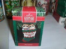 Mom & Dad`1991`Raccoon's In A Stocking`Handcrafted Hallmark Christmas Ornament