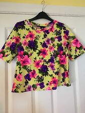 Ladies Bright Floral Top, Size 8, New Look, Yellow Purple Pink, Short Sleeve