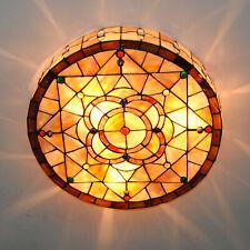 Tiffany Style Mediterranean Stainded Glass Flush Mount E26 Light Ceiling Lamp