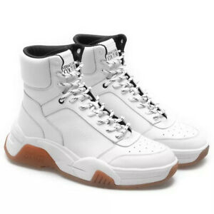 Versace Fire1 Leather High-Top Sneakers White Size 12 USA 45 EU