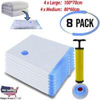 Space Saver Vacuum Seal Storage Bags (4 x Large,4 x Medium) + FREE Hand Pump US