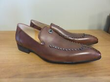 XPOSED Hand Made Brown Leather Loafers Metal Studded - Size EUR 45, UK 11 - NEW