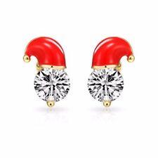 Christmas Round Crystal Costume Earrings