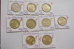 GREECE 100 DRACHMAI - 9 COINS COLLECTION B38 CM15-30