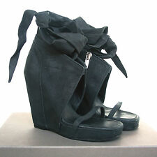 RICK OWENS $1,700 leather wrap tied wedge heel sandal platform shoes 11/41 NEW