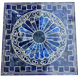 24 Inches Marble Center Table Top Inlay Coffee Table with Lapis Lazuli Stone Art