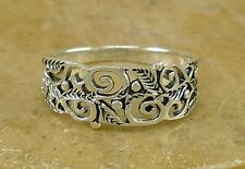 Pretty .925 Sterling Silver VINY FILIGREE ring size 10  style# r2168