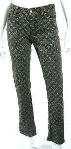 LOUIS VUITTON Blue-Gray & Beige Monogram Logo Denim Low-Rise Jeans 38
