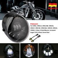 7'' Schwarz LED Oval Scheinwerfer Blinker Für Harley Vrod V-ROD VRSC VRSCA VRSCR