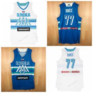 Custom Luka Doncic 77 Slovenija Basketball Jersey Top Print White Blue Any Names