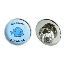 """No Drama Piranha Fish Funny Humor Metal 0.75"""" Lapel Hat Pin Tie Tack Pinback"""