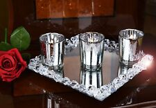 Set Of 3 Silver Mercury Glass Candle Tealight Holders & Crystal Mirror Tray Base