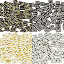 4mm Square DIY Doll Clothes Sewing Sew On Plated Metal Miniature Buttons 60pcs