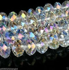 Wholesale! 70pcs 6x8mm White AB  Crystal Faceted Loose Bead