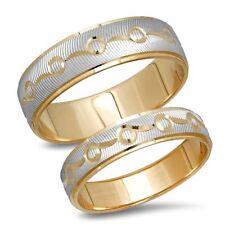 His Hers Unisex 14K Two Tone Gold Matching Wedding Band Men's Women's 2 Ring Set