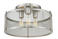 "Satin Nickel Semi-Flush 3 Light No Glass 16"" W Industrial Fixture Modern Closet"