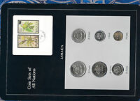 Coin Sets of All Nations Jamaica 1973-1980 UNC 20,25 cents FM(M) 1,5,10 FM(U)