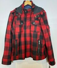INC International Concepts Hooded Red Plaid Peacoat NWT Sz.XL