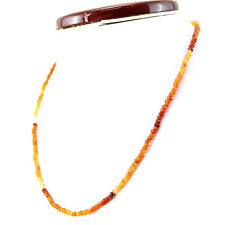 Unheated 62.00 Cts Natural Single Strand Hessonite Garnet Faceted Beads Necklace