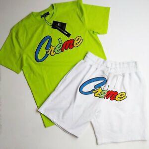 Roku studio mens 100%authentic T-shirt & Shorts 2p set creme large green/white