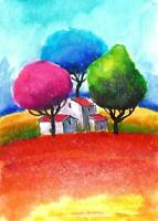 ACEO abstract Italy landscape surreal fantasy original painting art