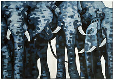 Hand Painted Elephant Oil Painting On Canvas - Modern Impressionist Animal Art