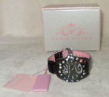 PARIS HILTON Women's Black Leather Quartz Watch new sparkle pink
