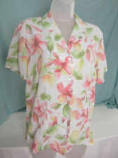 Alfred Dunner Blouse Top size 14 Easy Care Polyester Green Peach Pink NWT