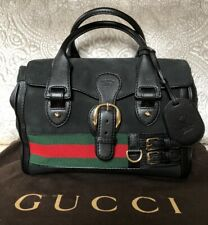 GUCCI Heritage Boston Bag Suede Leather Large Handbag Tote
