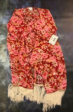 NEW Monroe * LULAROE * Women's Comfy Top Fringe Layering Small - Pink Red Flower