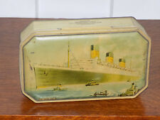 Benson's RMS Queen Mary Cunard Line Vintage Colorful Candy Tin of the 1930's-50s
