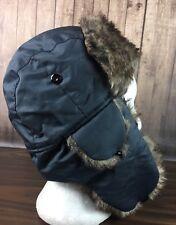 3936e6e633d Faux Fur Accent Aviator Trapper Ear Muff Hat Nylon Cap Winter