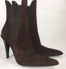 JULIAN BELLS 100 SUEDE HIGH HEEL MID CALF WOMENS Ankle BOOTS BROWN 38 Italy