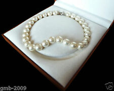 """Rare Huge Genuine White 14mm South Sea Shell Pearl Heart Clasp Necklace 18"""" AAA"""