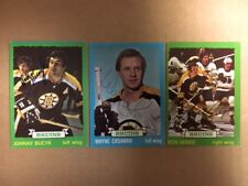Autographed Boston Bruins 1973-74 Topps Hockey Lot(3)Hodge,Cashman,Bucyk