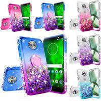 For Motorola Moto G6 Hybrid Luxury Liquid Glitter Protective Phone Case Cover