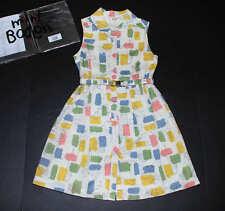NEW Mini Boden Retro Fifties Shirt Dress Snowdrop Doggies Belted Tank Dress 7-8Y
