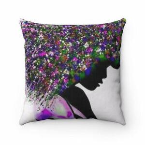 Afro purple Spun Polyester Square Pillow, Decorative Pillow , Square Pillow