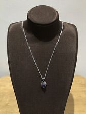 "925 Sterling Silver Plated Purple Solid Heart CZ Necklace 22"" Brand new SALE"