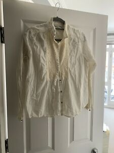 anthropologie Custom Made White Shirt With Sequins Size M