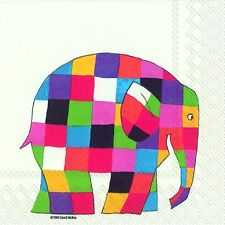 Elmer the Elephant White paper table 33cm square lunch napkins 20 in pack