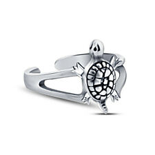 Turtle Adjustable Toe Ring For Womens 14K White Gold Finish Sterling Silver