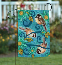 Toland Chickadees 12.5 x 18 Colorful Blue Flower Bird Garden Flag