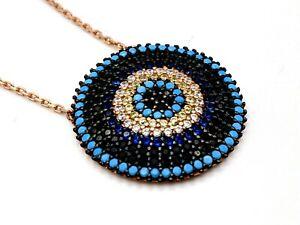 Womens 925 Sterling Silver Necklace Rose Gold Evil Eye Topaz