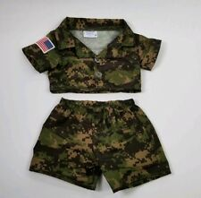 Build A Bear 2 Pcs Army Digital Camo Shirt & Shorts Outfit US Flag  BAB Clothes