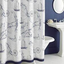 Uphome Shabby Cape Island Map Bathroom Shower Curtain - Navy and White Nautical