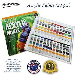 24 x 12ml Tubes Mont Marte Acrylic Paints Set Artist Quality Painting Supplies
