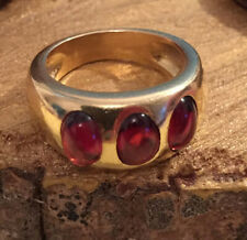 9Ct Cabochon Red Ruby Bezel Set 3 Stone Engagement Ring Yellow Gold Finsh Silver